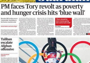 Guardian - 'PM faces Tory revolt over poverty crisis'