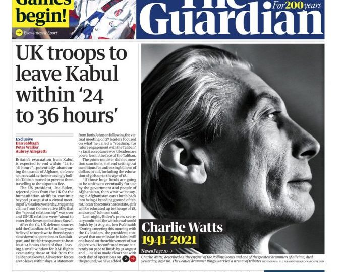 The Guardian says thousands of Afghans could potentially be abandoned if the UK operations end as expected in 24 to 36 hours.