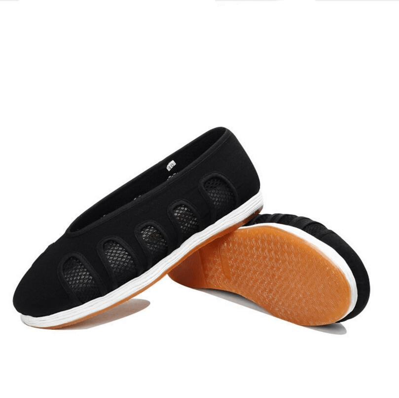 Black Taoist Cloud Shoes with Net Windows Black and White 22