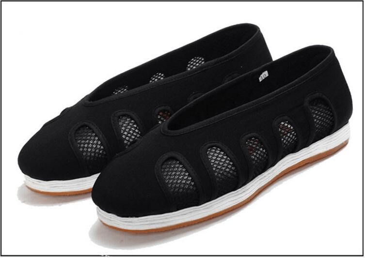 Black Taoist Cloud Shoes with Net Windows Black and White 24