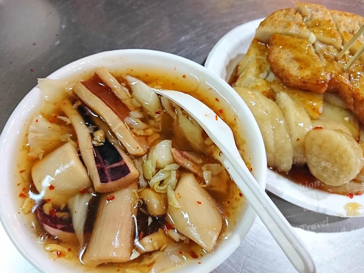 板橋黃石市場-高記生炒魷魚、炸蘿蔔糕、糯米腸、芋粿Q銅板美食推薦-捷運府中站