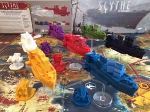 Die finalen Luftschiff-Miniaturen mit Meeples an Bord