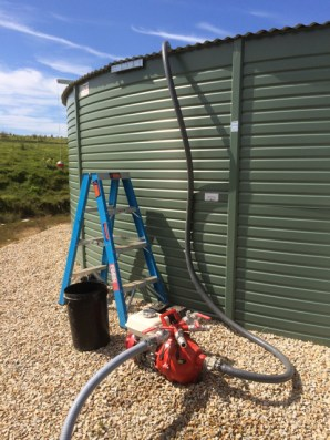 Moving water between tanks with the fire pump