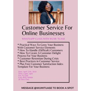 customer service for online businesses course flier