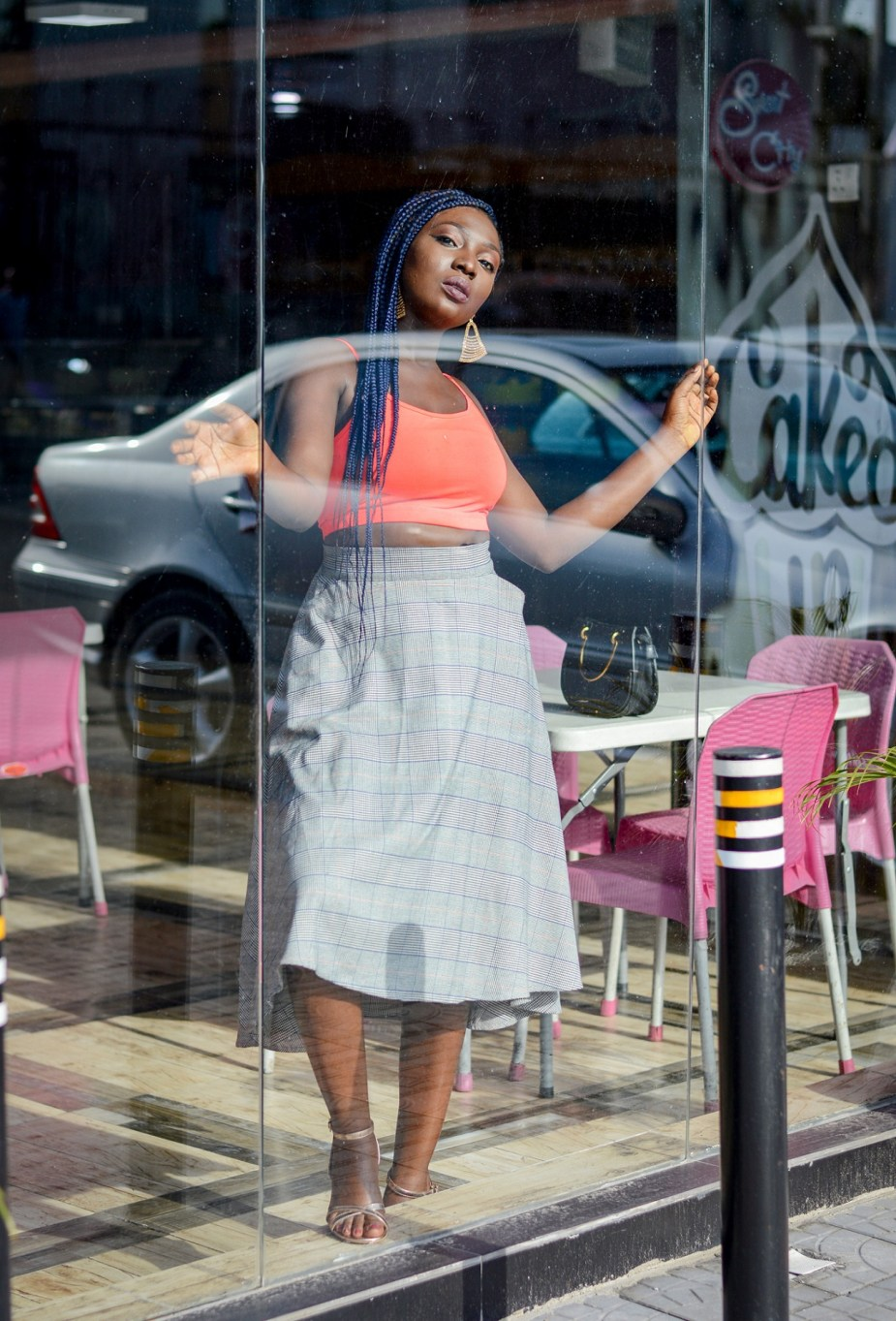 Skirt and sneakers trend tartan and neon steet style Nigerian fashion blogger