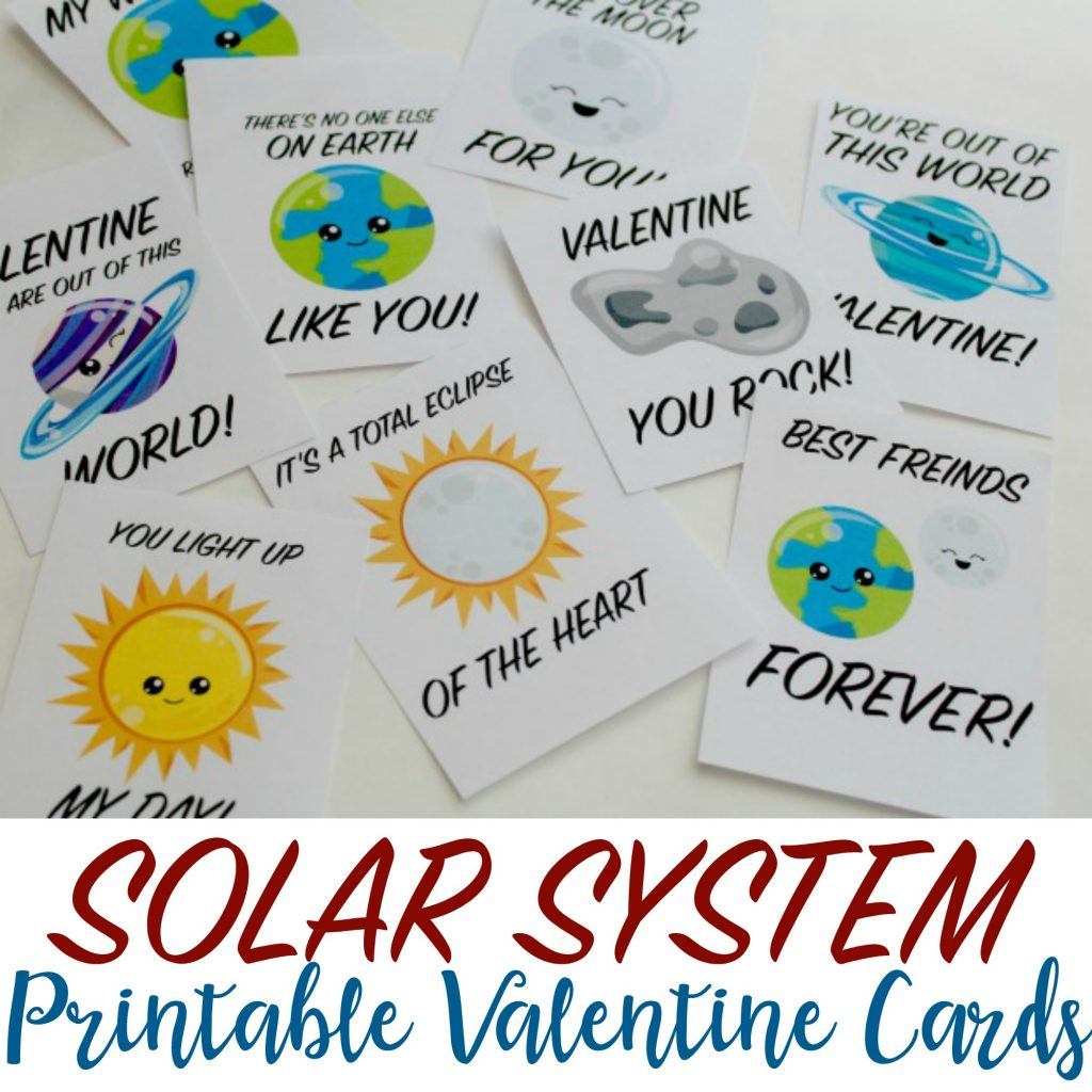Solar System Printable Valentines Day Cards For Kids