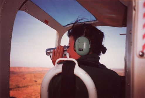 Susie filming from chopper