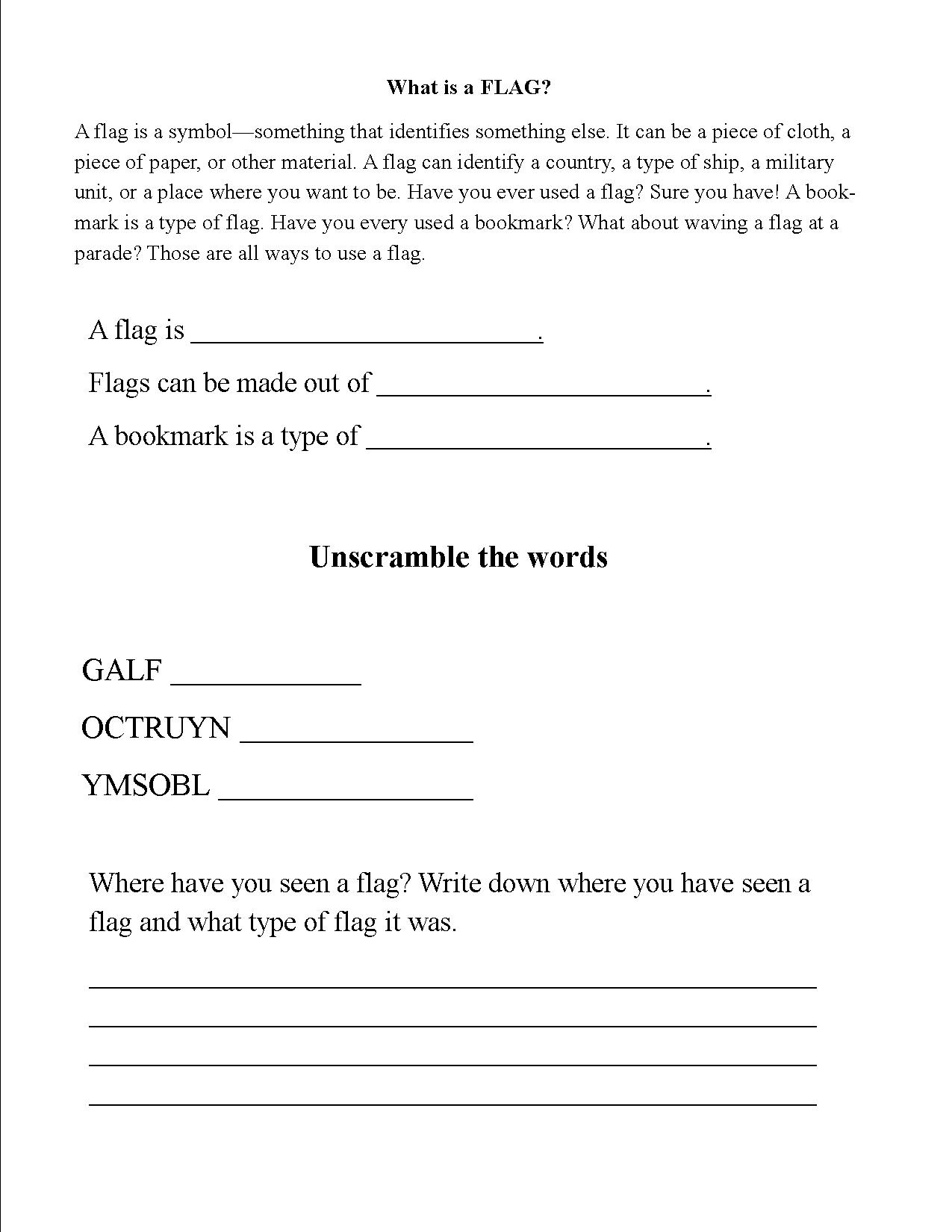 Folding Flag Worksheet