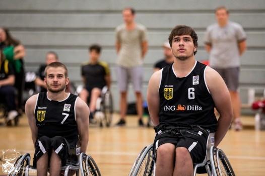 Die Herren des Team Germany gewinnen das Testspiel gegen die Herren aus den Niederlanden knapp mit 62:59 (31:34 HZ). Hardtberghalle, Bonn.