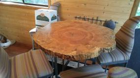 Round spalted maple slice table WunderWoods