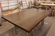 WunderWoods river recovered walnut live natural edge slab table top left