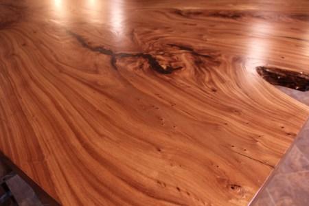 WunderWoods Siberian elm crotch natural live edge slab table top finished detail