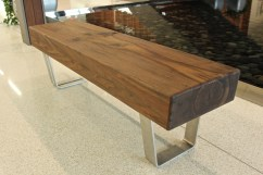 WunderWoods thick walnut bench stainless steel legs