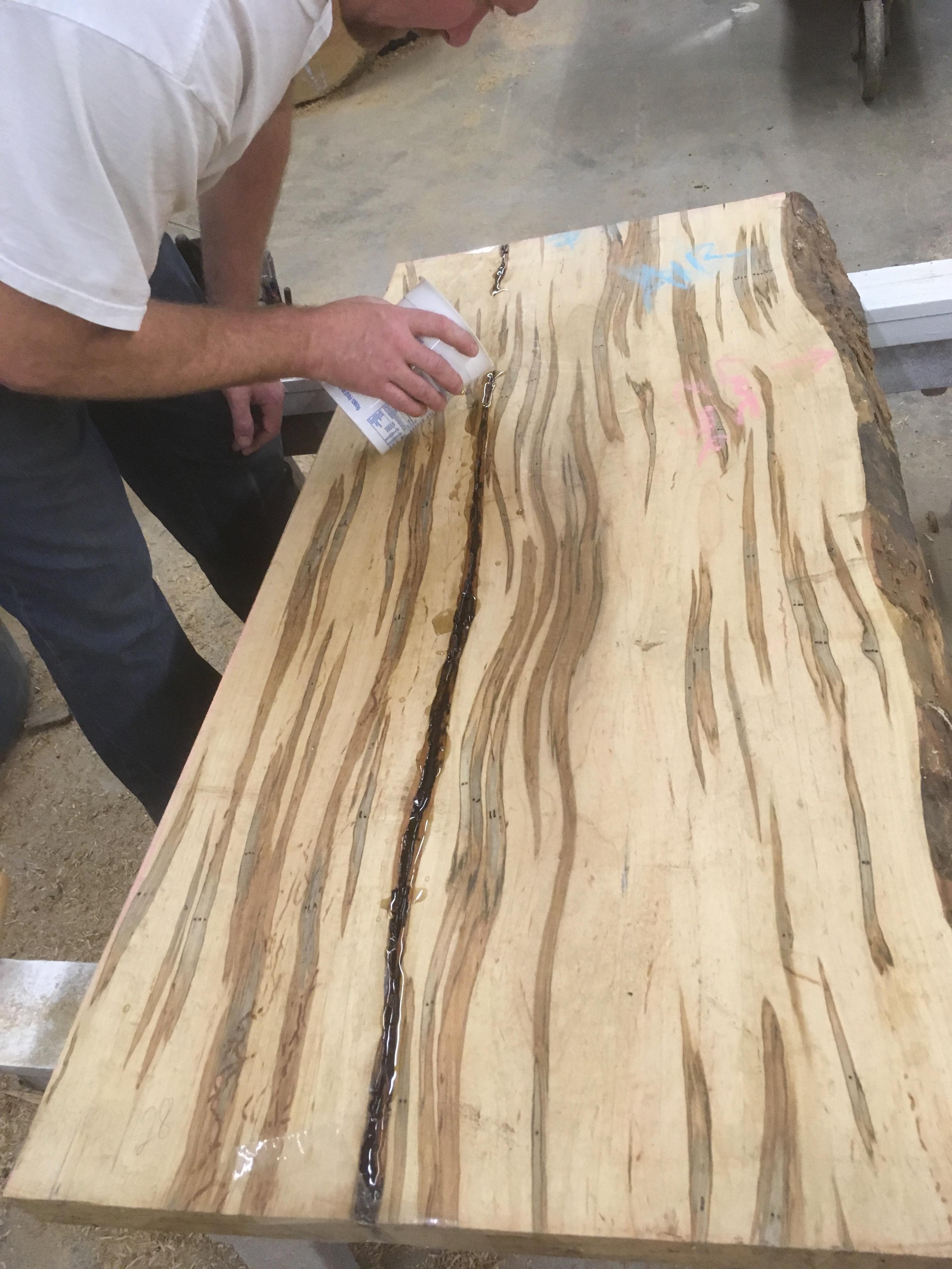 Ambrosia Maple Epoxy Filling Live Edge Table Top Slab