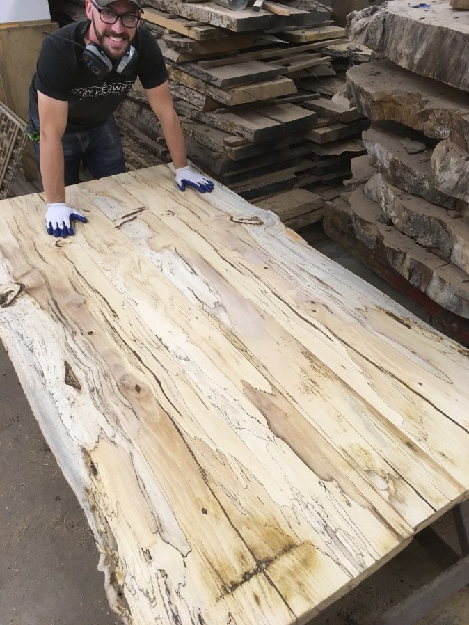 Cory Spalted Hickory Live Edge Slab Dining Table Top WunderWoods WunderWoods