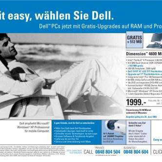 IT Computer: Tageszeitungs-Inserat für Dell Dimension 4600