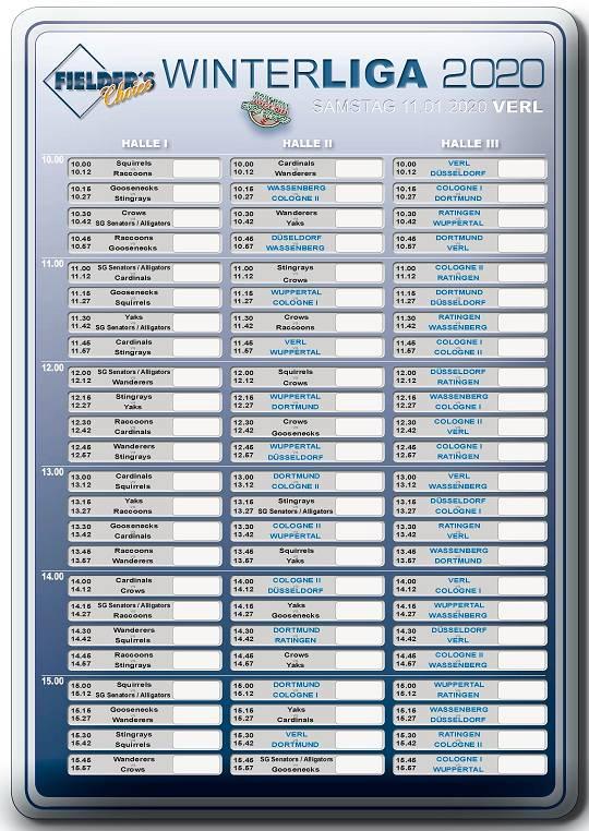 Fielder's Choice Winterliga 2020 Spielplan Verl