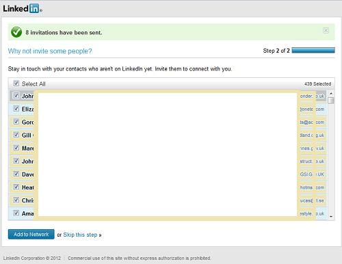 LinkedIn Contacts New screen
