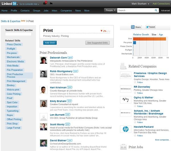 LinkedIn Print Skills Screenshot