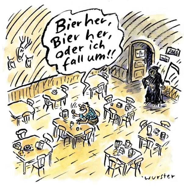 Bier her Tod Kneipe Sensenmann Bayern Wirtshaus