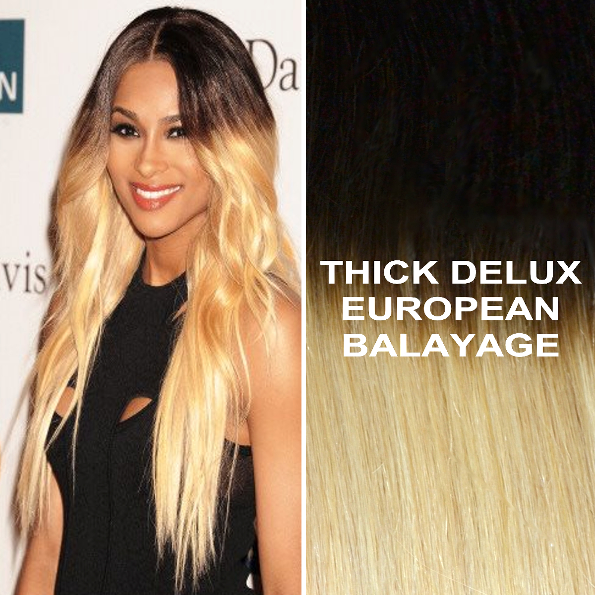 24 Thick Ombre Balayage 1b613 Brown Blonde Remy Human Hair Extensions