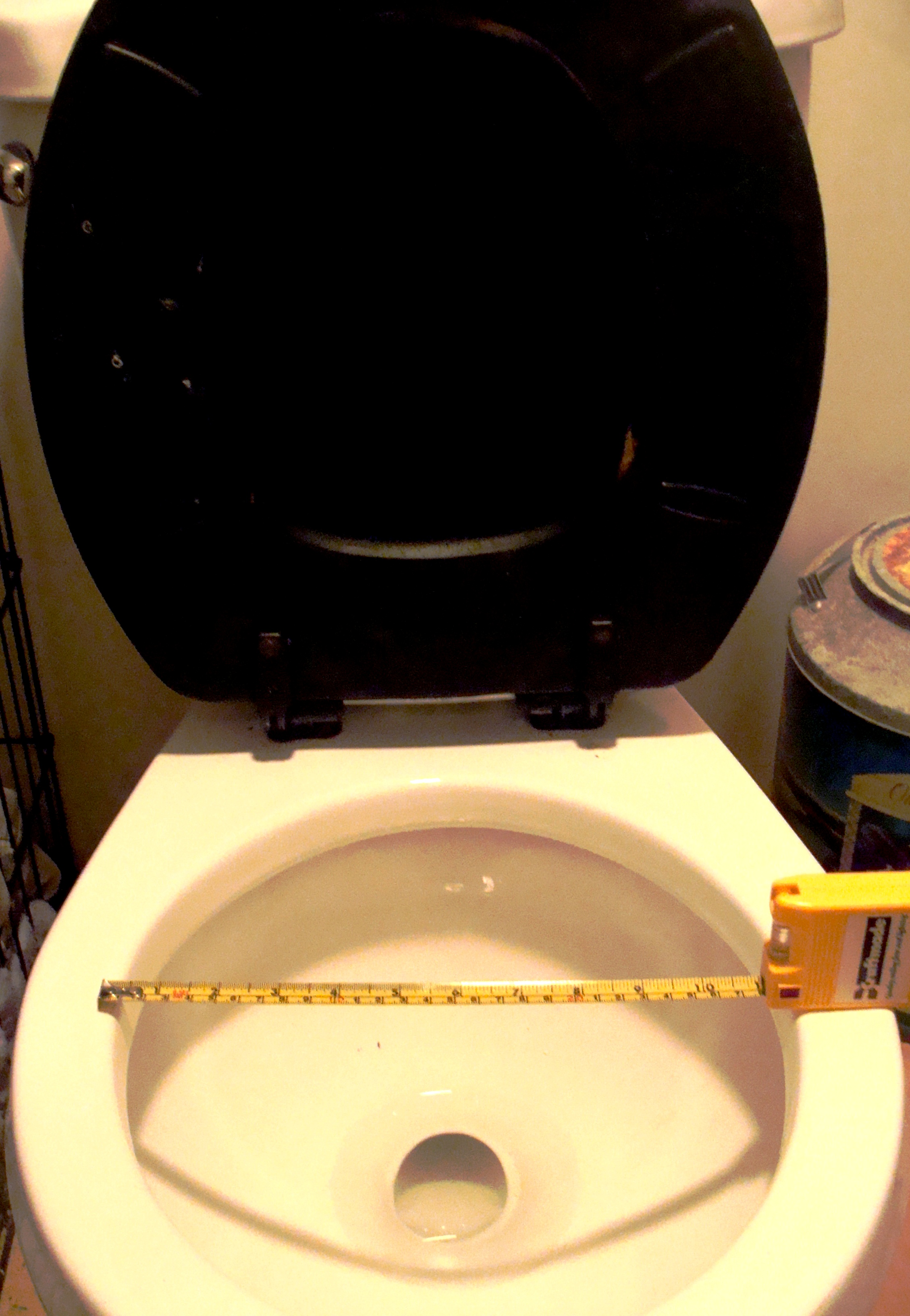 The average toilet seat with tape measure verification.
