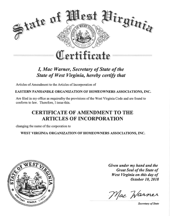 Certificate of 2nd Amendment to the Articles of Incorporation