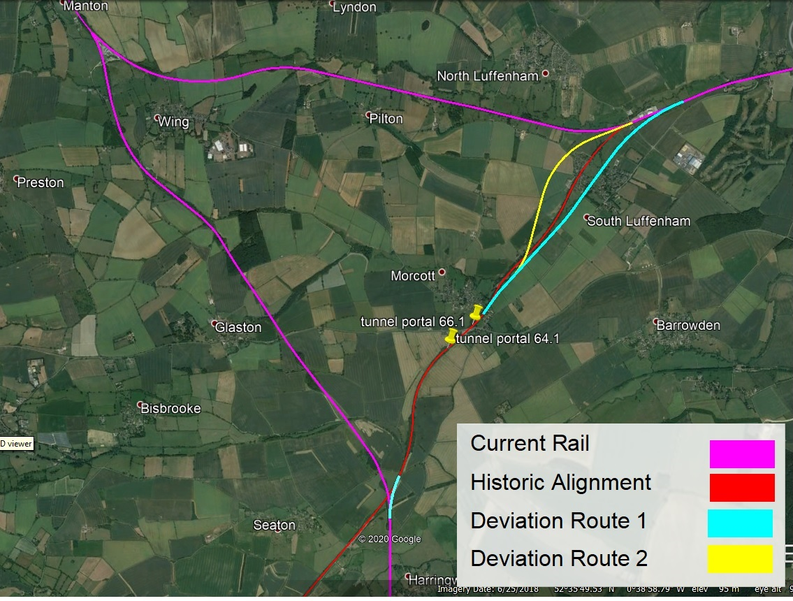 Satellite image of area near to Uppingham. Manton is top left, South Luffenham is top right, and Seaton is bottom middle, forming a equilateral triangle between these locations. The existing lines are highlighted in purple which form the left and top sides of the triangle. This shows that trains coming from Corby in the south cannot turn right to head towards Stamford & Peterborough. The historic route of the line is highlighted in red which forms the right hand side of the triangle connecting the present day lines. The portals of the tunnel at Morcott which is a third of the distance along the side of the triangle are indicated with markers. There are two alternative routes shown in light blue and yellow. These deviate slightly from the historic route as the pass near South Luffenham. Deviation route 1 is light blue and lies south of the historic route, passing though an open area in the middle of South Luffenham. Deviation route 2 is yellow and lies north of the historic route. It is more curved and passes close by to the north of the village.