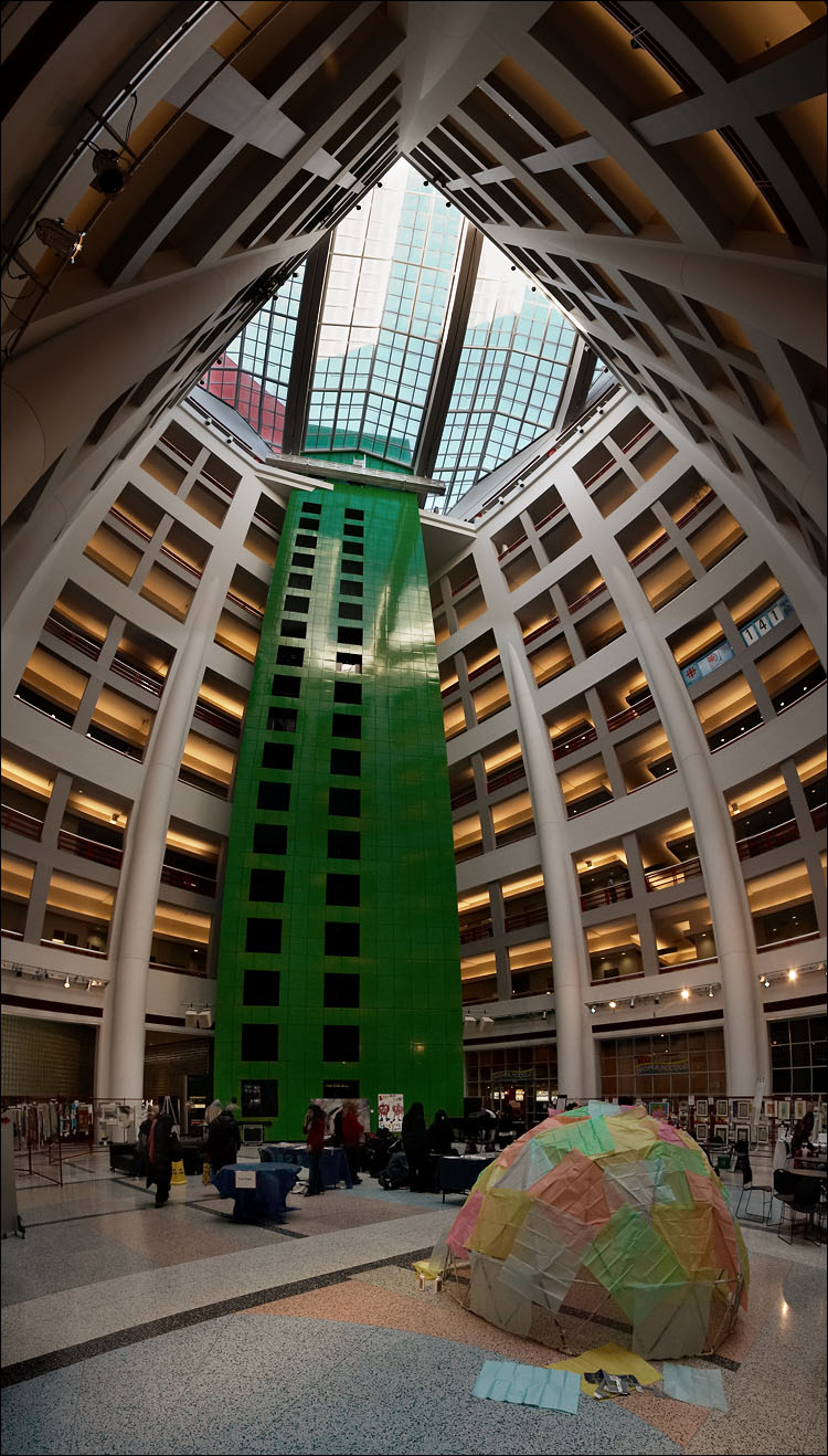 A cool, freaky-deeky, curvy image of the atrium of the CBC building, where I work