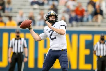 April 24, 2021; Morgantown, West Virginia, USA; West Virginia Mountaineers quarterback Jarret Doege (2) competes in a throwing competition during the Spring Game at Mountaineer Field at Milan Puskar Stadium. Mandatory Credit: Ben Queen