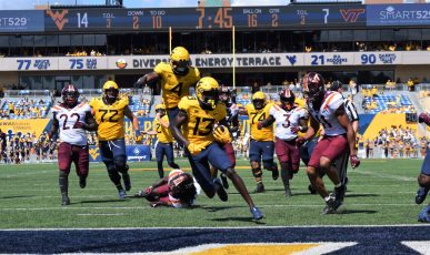 WR Sam James finds the end zone for a Mountaineer touchdown. (WVSN photo by Kelsie LeRose)