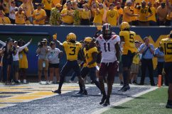 Redshirt Junior Jackie Matthews, 3, waves his finger after denying the Hokies a touchdown. (WVSN photo by Kelsie LeRose)