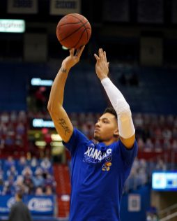 Dec 22, 2020; Lawrence, Kansas, USA; Kansas Jayhawks forward Jalen Wilson (10) warms up before the game against the West Virginia Mountaineers at Allen Fieldhouse. Mandatory Credit: Denny Medley-USA TODAY Sports