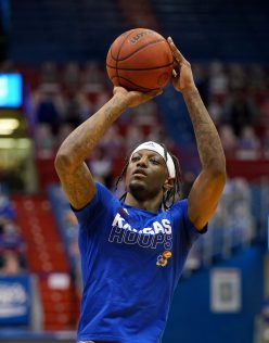 Dec 22, 2020; Lawrence, Kansas, USA; Kansas Jayhawks guard Marcus Garrett (0) warms up before the game against the West Virginia Mountaineers at Allen Fieldhouse. Mandatory Credit: Denny Medley-USA TODAY Sports