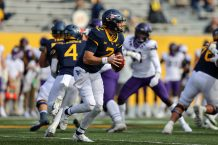 MORGANTOWN, WV - NOVEMBER 14: West Virginia Mountaineers quarterback Jarret Doege (2) looks to pass during the third quarter of the college football game between the TCU Horned Frogs and the West Virginia Mountaineers on November 14, 2020, at Mountaineer Field at Milan Puskar Stadium in Morgantown, WV. (Photo by Frank Jansky/Icon Sportswire)