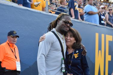 Former Mountaineer Pac Man Jones returned to catch a Mountaineer game on Saturday.