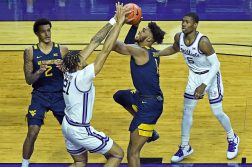 West Virginia competes against K-State at Bramlage Coliseum in Manhattan, Kansas on January 23, 2021.