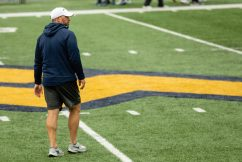 Head coach for strength and conditioning Mike Joseph during a practice in Milan Puskar Stadium on Saturday April 17, 2021. Duncan Slade/WVSN