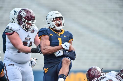 West Virginia Mountaineers linebacker Tony Fields II (1) reacts after making a tackle against Eastern Kentucky Colonels during an NCAA football game on Saturday, September. 12, 2020, in Morgantown, West Virginia.