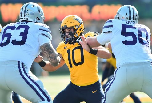 West Virginia Mountaineers linebacker Dylan Tonkery (10) is blocked by Kansas State Wildcats defensive end Tyrone Taleni (50) Saturday, Oct. 31, 2020, in Morgantown, WV.
