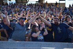 Fans celebrate a Mountaineer touchdown.