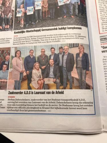 2019 - Zaakvoerder A.D.S. is Laureaat van de Arbeid