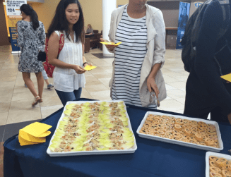 Quinoa cucumber salads and turkey wraps were given out at HSC to promote SAND's first meeting!