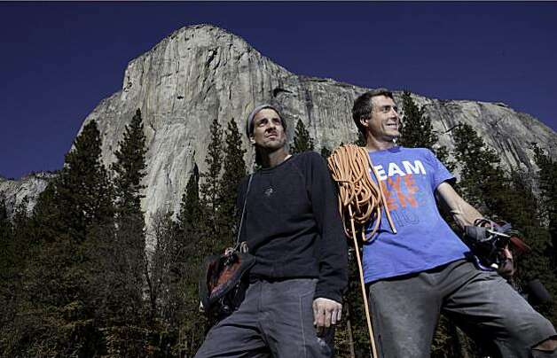 World-renown climber Dean Potter and climbing partner Sean Leary seen in 2010 after climbing El Capitan. Potter and Leary set the record for the fastest ascent of El Capitan at 2 hours, 36 minutes, and 45 seconds. Photo: Tomas Ovalle, SFC