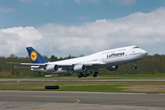 Lufthansa's first Boeing 747-8 Intercontinental leaves Paine Field yesterday bound for Frankfurt, Germany: Photo: Gail Hanusa / Copyright © 2012 Boeing. All Rights Reserved.