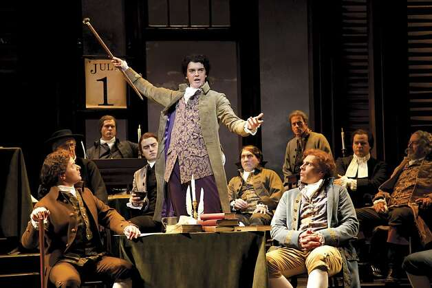 Photo from the San Francisco Chronicle: Jarrod Zimmerman, as Edward Rutledge, makes a passionate appeal to delegates of the Second Continental Congress in the Tony Award-winning musical