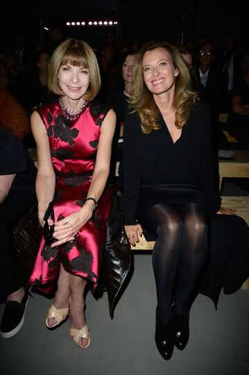 Anna Wintour and  French First Lady Valerie Trierweiler attends the Saint Laurent show as part of th