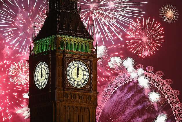 Fireworks light up the London skyline and Big Ben just after midnight on January 1, 2014 in London, England. Thousands of people lined the banks of the River Thames in central London to see in the New Year with a spectacular fireworks display. Photo: Dan Kitwood, Getty Images