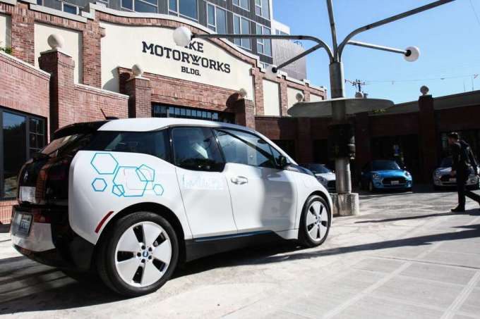 One of the BMW i3 electric cars that is available with the ReachNow car-sharing service is seen outside the Pike Motorworks building before a press event April 8, 2016 announcing the new service in Seattle. DANIEL DEMAY/SEATTLEPI.COM Photo: DANIEL DEMAY/SEATTLEPI.COM