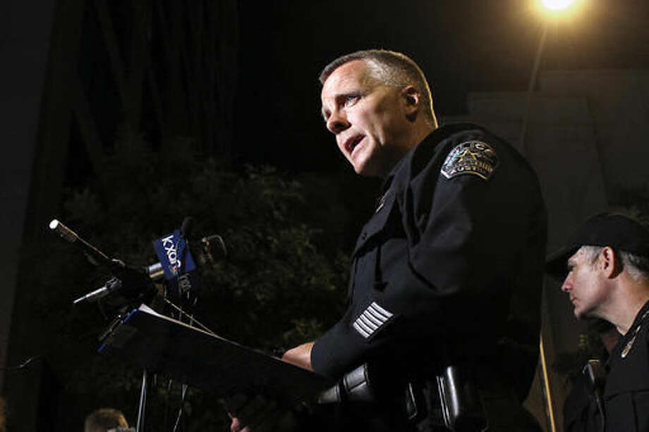 FILE PHOTO — Austin Police Chief of Staff Brian Manley (now interim police chief) addresses the media early Sunday morning, July 31, 2016, regarding a 6th street shooting in downtown Austin. An APD officer was fired Monday, April 17, 2017, after possibly coming into work intoxicated. Photo: Joshua Guerra